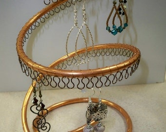 Spiral Copper Earring Tree Holder, Organizer, about 40 pairs, bronze wire