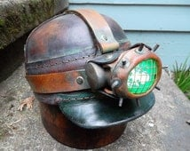 Steampunk Goth Victorian Leather Miners Hat Cap Helmet with Lamp