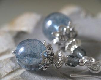 Rainy Day - Blue Grey Czech Glass Earrings in Silver