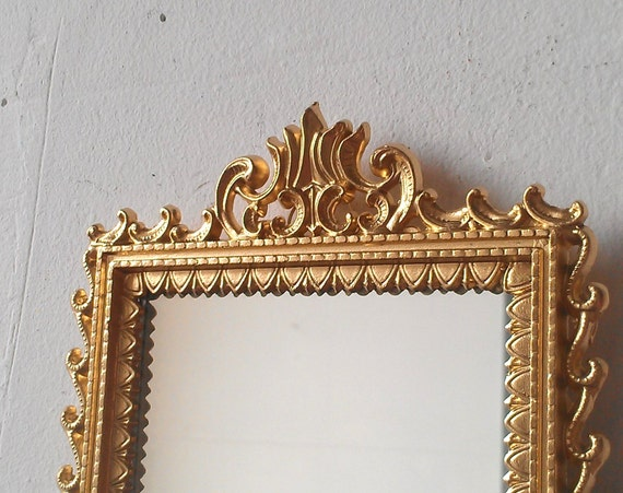 Small gold mirror in vintage brass frame by for Small gold framed mirrors