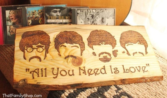 Beatles All You Need Is Love Song Quote Wood By Thatfamilyshop