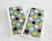 Grey Polka Dot Burp Cloths - Set of 2