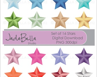 Instant download Set of 16 Stars PNG download/printable Personal and Small commercial use