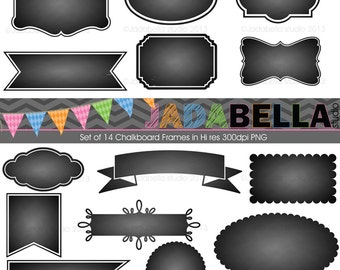 Instant Download Set of 14 Chalkboard Frames PNG 300dpi hi res files download/printable Personal and Small commercial use