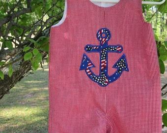 Anchor applique red gingham jon jon patriotic