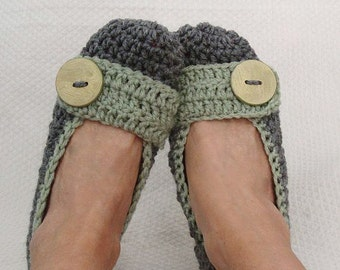 Women's Crochet Flats Slippers Heather Grey and Green size 6