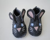 Wool Felt Bunny Slippers for Toddlers and Babies