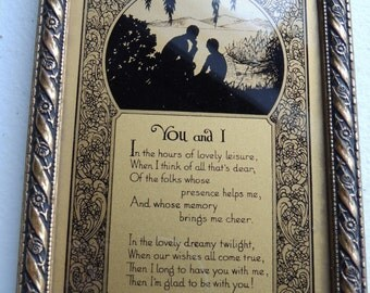 circa 30s or 40s vintage, lovers, valentine, plaque, framed picture ,silhouette