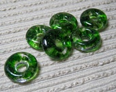 MADE TO ORDER Handmade Cast Glass Beads / Set of 6 / Translucent Adventurine Green Blend / For Your Handcrafted Jewelry Designs or Crafts