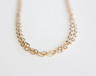 Double Wrapped Long Layering Chain Necklace - 14k Gold Filled - Luna - LAST ONE - SALE