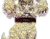 Vintage Pearl Poodle Brooch
