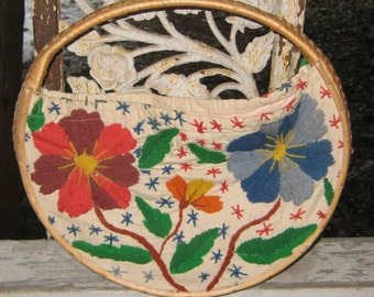 Super Fun Round Wicker Cloth Flower Purse