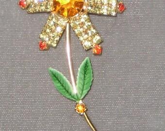 Please Dont Eat The Daisys Sweet Rhinestone Flower Brooch