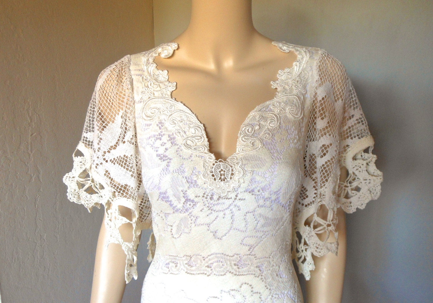 Antique LACE Crochet Wedding Dress Scalloped by MuseClothing