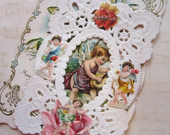 antique VALENTINE - victorian, early 1900s - embossed paper, cherub, flaming hearts - very old