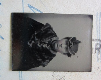 SALE - miniature GEM tintype photo - woman in hat and fur collar - GTE05