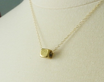 Brass cube necklace, geometric necklace -layering jewelry SALE
