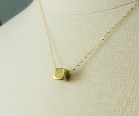 Brass cube necklace, geometric necklace -layering jewelry SALE