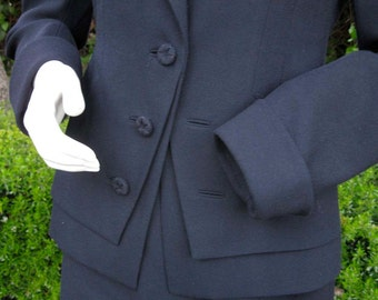 J Peterman navy wool suit with 40s style cutaway jacket short straight skirt 4 6