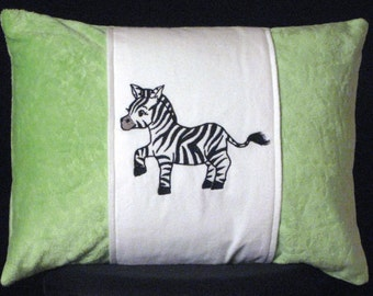 New Embroidered Black White Soft Lime Green Zebra Accent Pillow, New 12 x 16 Insert -- Item 53