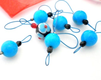 Bead Knitting Stitch Markers - Set of 7 - Select Your Set of Reconstituted Turquoise Bead Markers