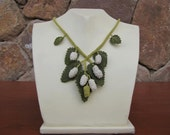 White Berries on Green Leaves Natural  Necklace,berry, crochet necklace,leaves necklace,green necklace,bib,white berry,statement necklace,