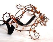 Bronze vine masquerade ball mask, womens mask,halloween mask ,handmade mask, accessories,