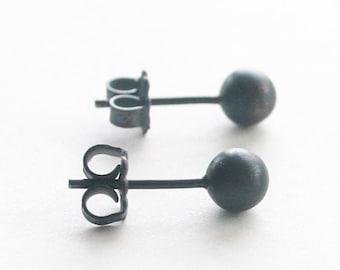 Everyday Stud Earrings ( 5mm ) - handmade oxidized sterling silver ball post earrings