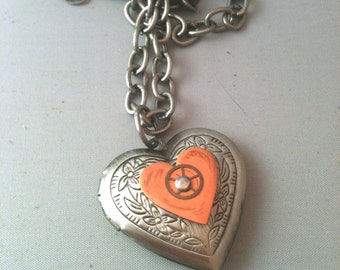 Antiqued Silver Locket with Copper Heart and Watch Gear Necklace