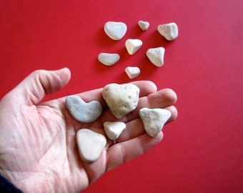 Stone Heart Collection -  Miniature Heart Shaped Stones - Natural Stone Heart - Free Shipping