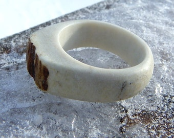 Moose Ivory Ring Size 12 Antler with Natural Bark Edge