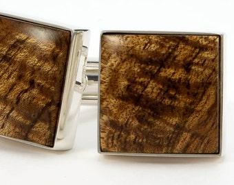 Wooden Cufflinks - Hawaiian Koa Silver Cufflinks - Silver Cuff Links - Unique Gift Idea for Father's Day, Wedding, Graduation, Anniversary