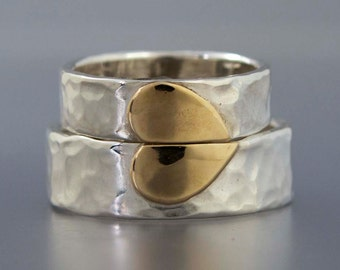 Heart of Gold Wedding Band Set in 14k Gold and Sterling Silver - One Love