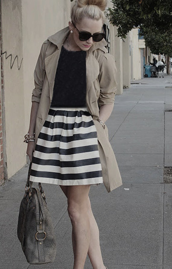 Black White Stripes - Black and White Striped Skirt - Short Gathered Skirt - Black and White PIRATE   School, Office, Party