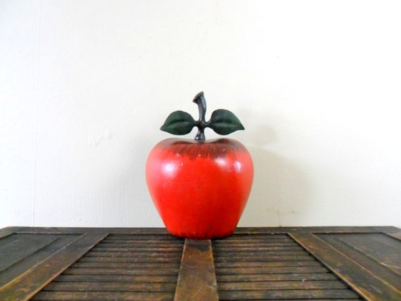 vintage cast iron apple door stop - red - orchard - fruit