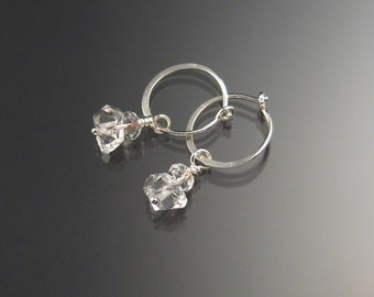 Natural Quartz Crystal Birthstone Hoop Earrings April birthstone white crystal Hoops in Sterling silver