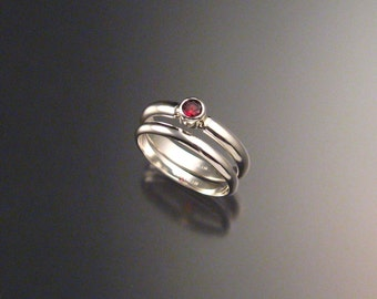 Garnet Round Wedding set Sterling Silver made to order in your size