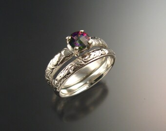 Mystic Topaz Wedding set 14k White Gold ring set made to order in your size