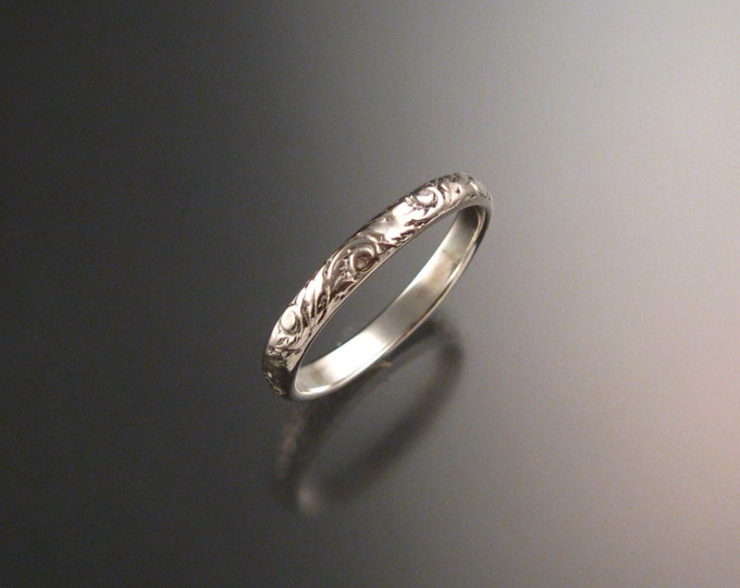 14k white Gold 2.7 mm Floral pattern Band wedding ring made to order in your size