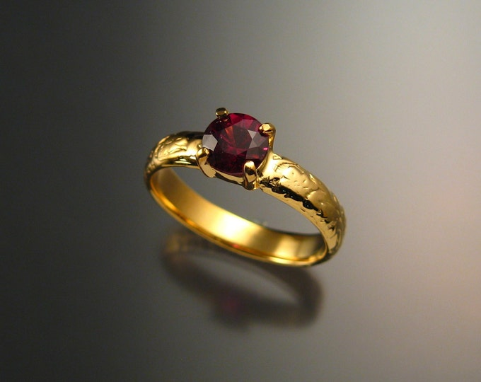 Garnet Wedding ring 14k Yellow Gold Natural Raspberry Rhodolite Garnet Ruby substitute ring made to order in your size