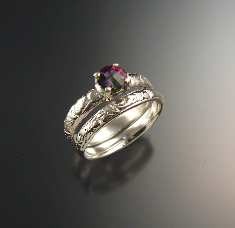 Mystic Topaz Wedding Set 14k White Gold Ring By