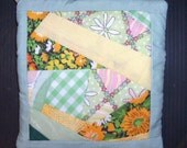 REDUCED POTHOLDER Quilt Design Patchwork, Crazy Quilt Pattern Scrappy  Green Yellow Hand Made, Traditional, Americana, Spring Color Abstract
