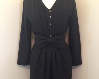 Stunning Classic Black 50s Vintage Rockabilly Mad Men Wiggle Dress
