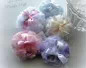 Small Powder Puff - La Petite Powderpuffs - pick a color - miniature poufs - gift boxed - pink cream blue lilac