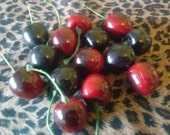 Lot of 14 Plastic Cherries, Life Size Realistic