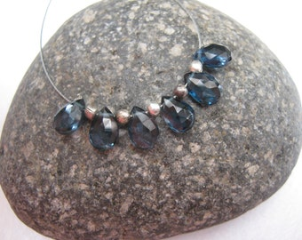 AAA London Blue Topaz faceted pear briolettes x6