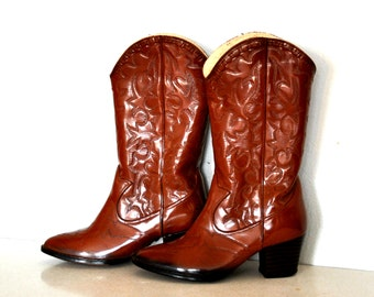 1970s Great Brown Western Rain Boot Cowboy Boots