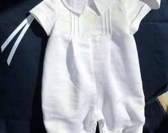Baby Boy Christening, Baptism, Blessing, Dedication, Ring Bearer Romper, Optional Hat Newborn to 18 mos, Cotton Sateen or Satin - Custom