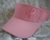 Pink visor breast cancer - pink ribbon visor - survivor pink visor - breast cancer awareness visor - golf visor