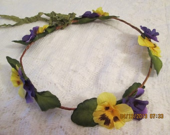 Floral head wreath - grapevine head wreath - flower girl head wreath - flower head wreath